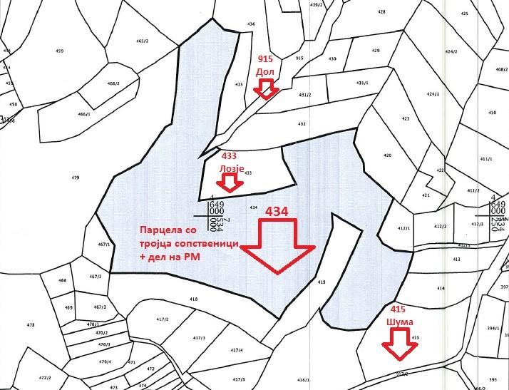 Приказ на парцела 434; документ од Агенција за катастар на недвижности