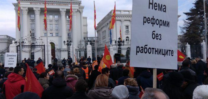 [Фото + видео] КСС и СОНК протестираа за повисоки плати и пристоен живот за работниците